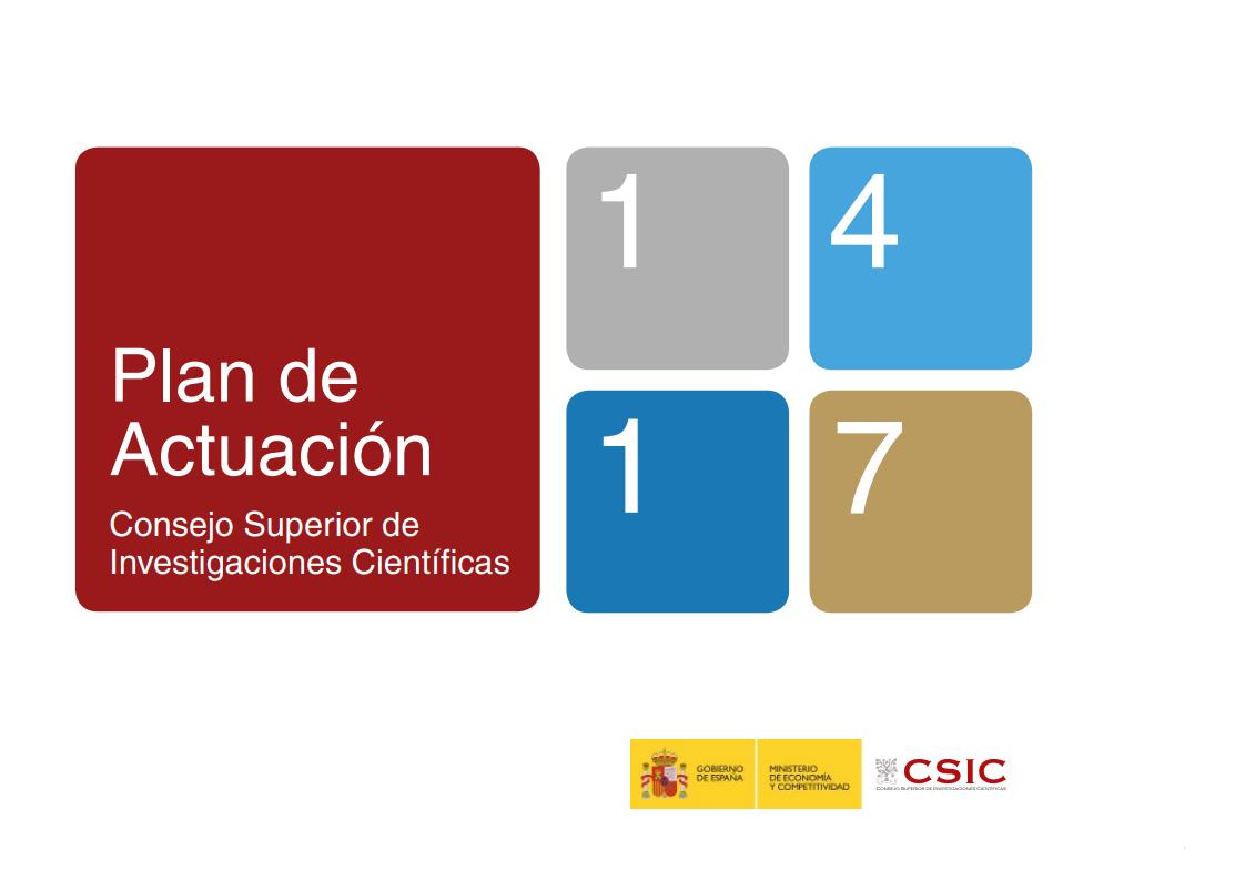 Portada Plan de Actuación del CSIC 2014-2017