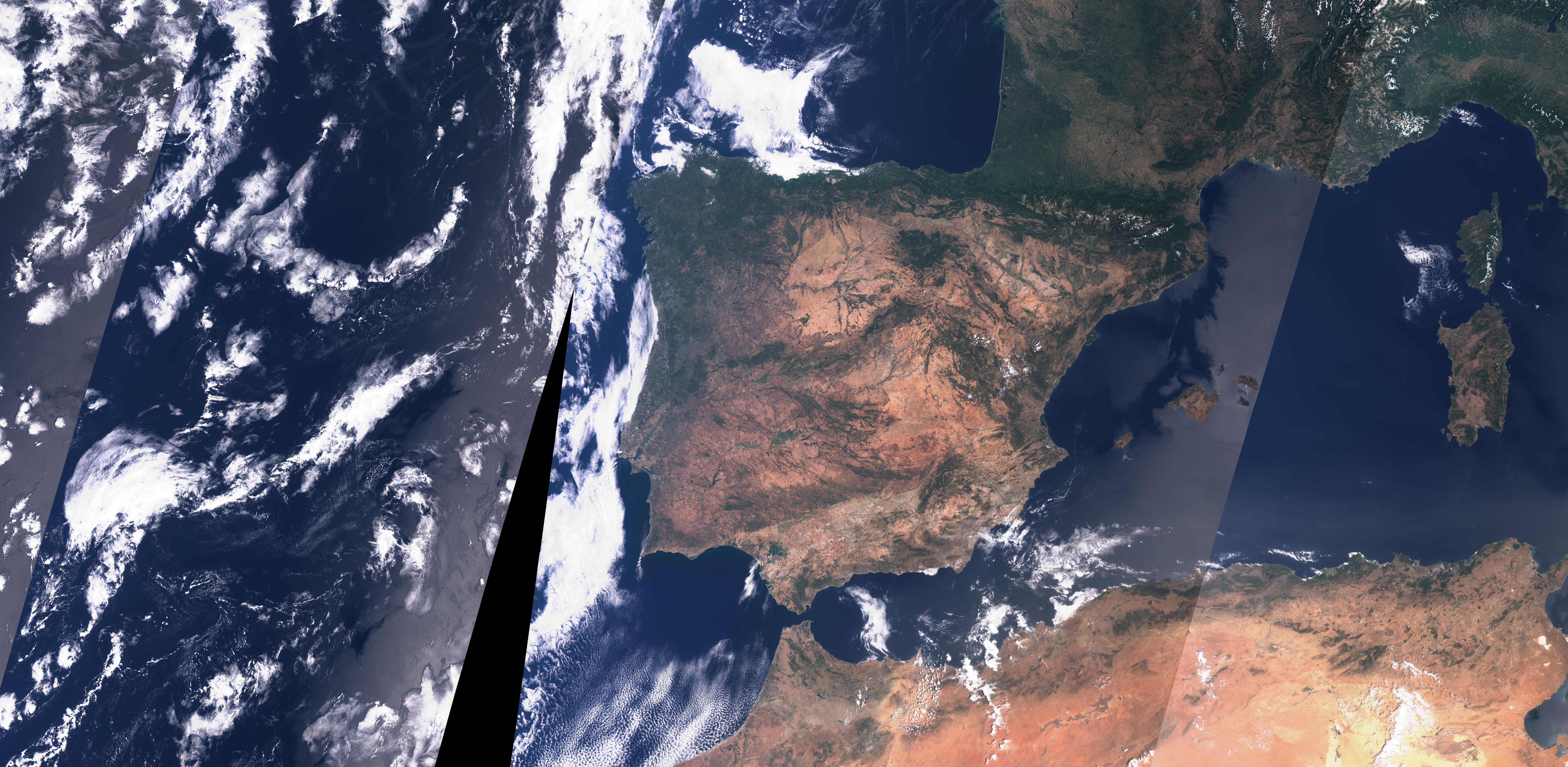 imagen de Imagen de la Península Ibérica captada por el satélite Sentinel-3 de la ESA a 300 metros de resolución espacial./ ISABEL CABALLERO