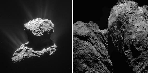 imagen de El cometa 67P/Churyumov-Gerasimenko captado por la misión Rosetta (izq.) y detalle de fallas y fracturas en el cuello del cometa (dcha.). / ESA/Rosetta/NavCam/MPS