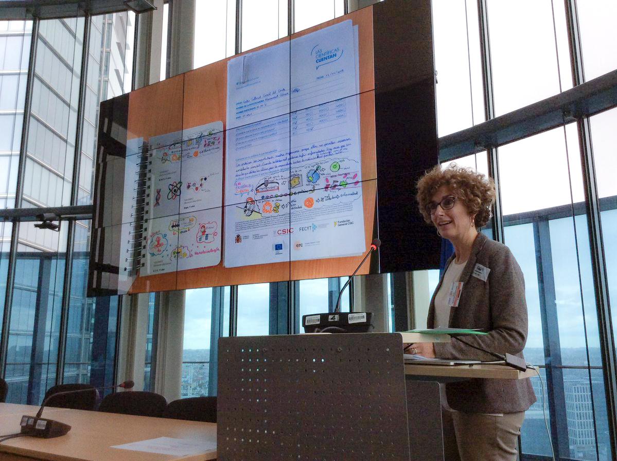 imagen de Berta Martínez, responsable de Política y Asuntos Institucionales de la delegación del CSIC en Bruselas, durante el segundo Excellence in Communication Science Workshop, celebrado en Bruselas. / Foto: CSIC Comunicación