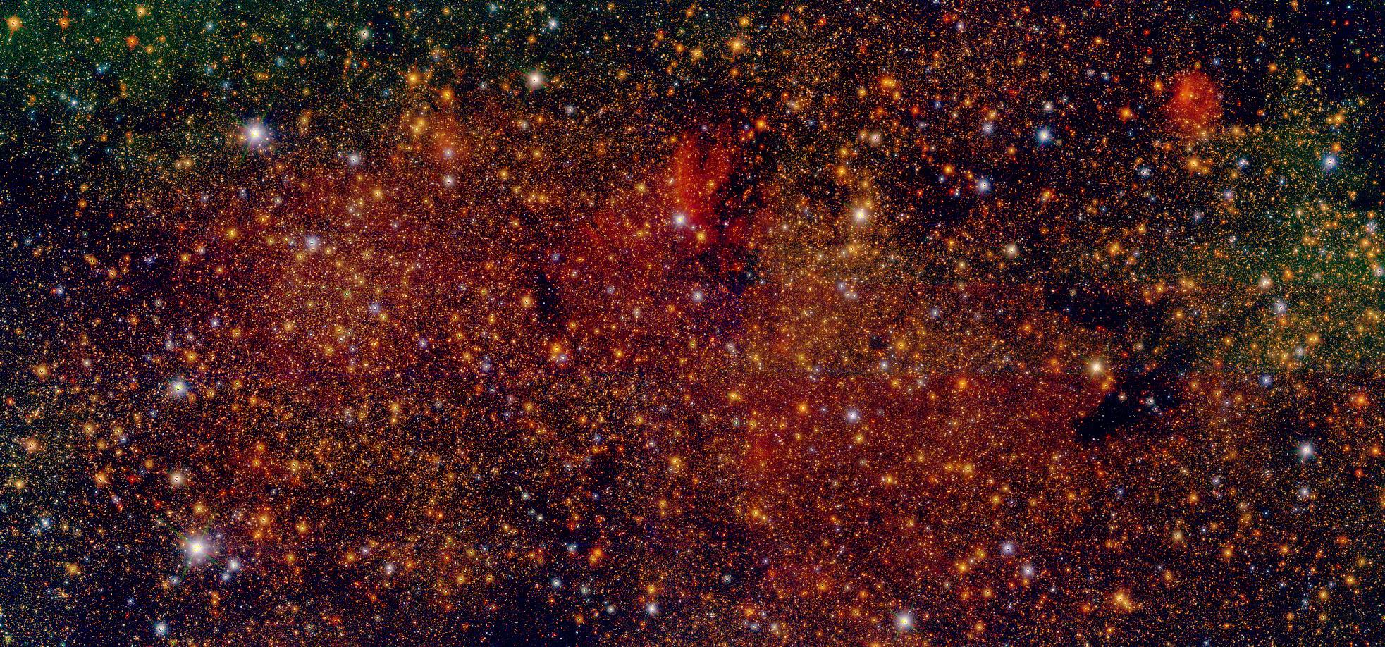 imagen de Imagen en falso color de uno de los campos estudiados por el proyecto Galacticnucleus. Fuente: Proyecto Galacticnucleus.
