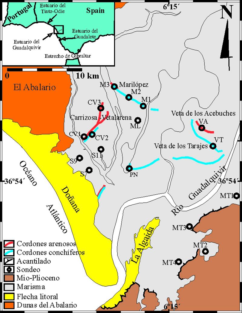 imagen de Mapa con los puntos de sondeo en el paisaje actual. / Antonio Rodríguez-Ramírez