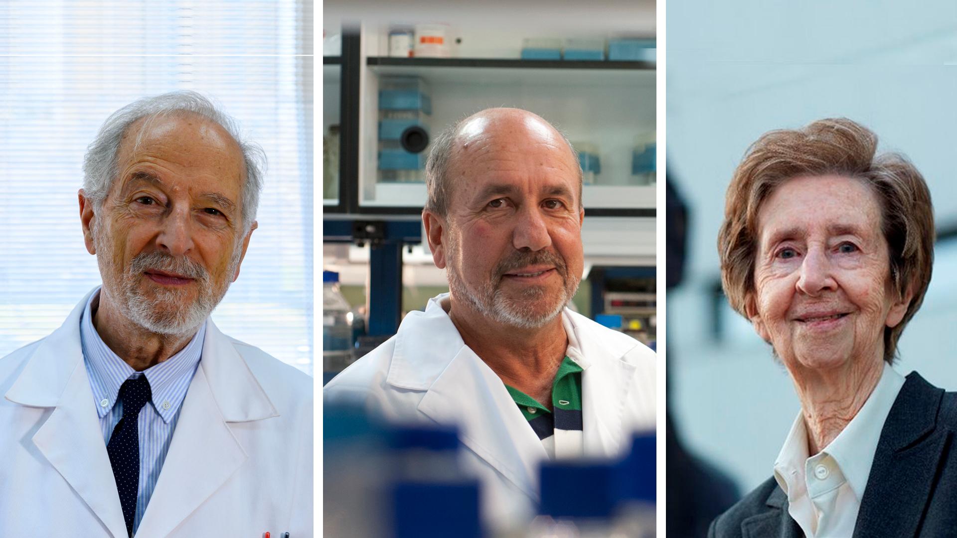 imagen de Luis Enjuanes, Mariano Esteban y Margarita Salas, Medalla al Mérito en la Investigación. / CSIC Comunicación