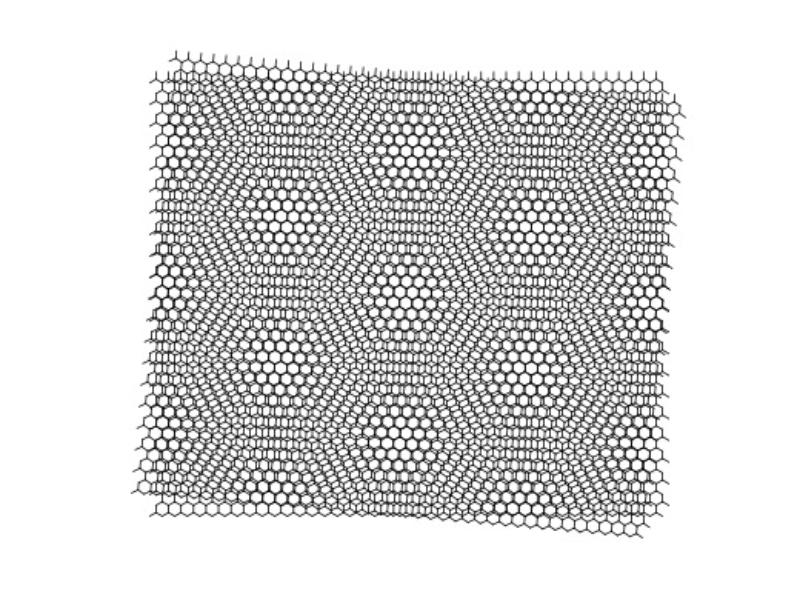imagen de Al girar dos capas de grafeno se forma una super-red y al hacerlo con un ángulo de 1,1 grados actúa como los materiales superconductores no convencionales. / CSIC
