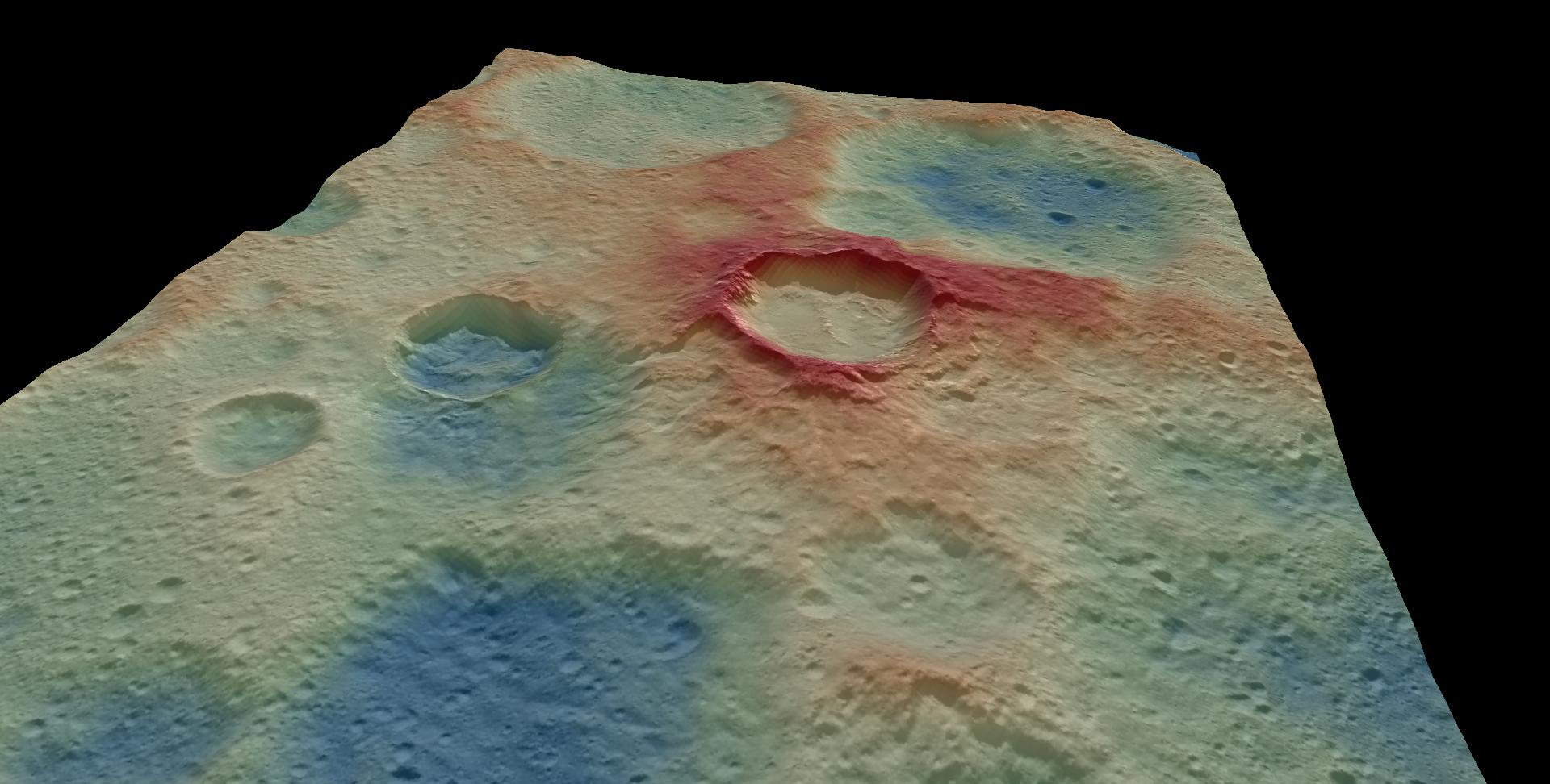 imagen de Modelo digital del terreno que muestra el escarpe formado por una falla inversa que deformó los cráteres Kupalo y Juling. / UCM a partir de datos de NASA/DAWN