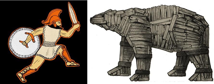 imagen de Dibujos incluidos en el cómic 'El oso de Troya'./ PELOPANTÓN