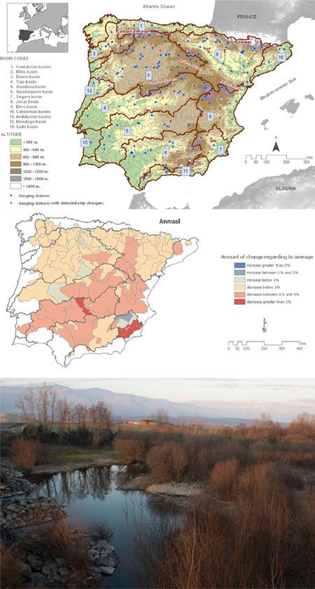 imagen de 1) El mapa muestra la localización de las cuencas hidrográficas y estaciones analizadas en este estudio, con datos disponibles desde 1945./ CSIC. 2) Variación anual de los caudales respecto a la la media. /CSIC. 3) Río Tiétar a su paso por la comarca de La Vera, Extremadura. / Comunicación CSIC
