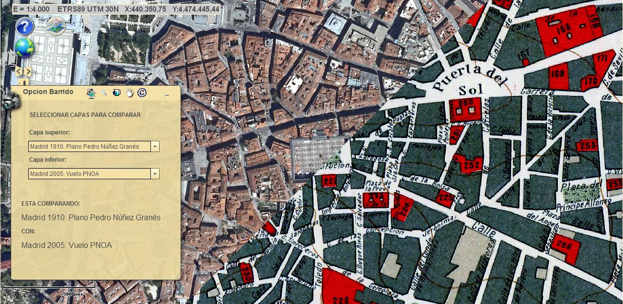 imagen de Imagen del visor comparador de mapas. Comparación de una fotografía aérea de 2005 y el plano de 1910.