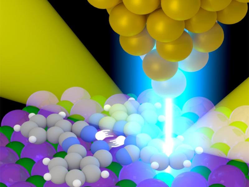 imagen de Los científicos han desarrollado una técnica nanoscópica que permite distinguir el origen exacto de la emisión de luz dentro de una molécula, con resolución atómica. / CSIC