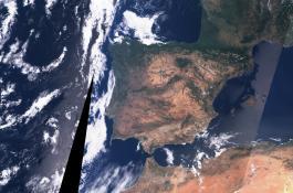 Imagen de la Península Ibérica captada por el satélite Sentinel-3 de la ESA a 300 metros de resolución espacial./ ISABEL CABALLERO