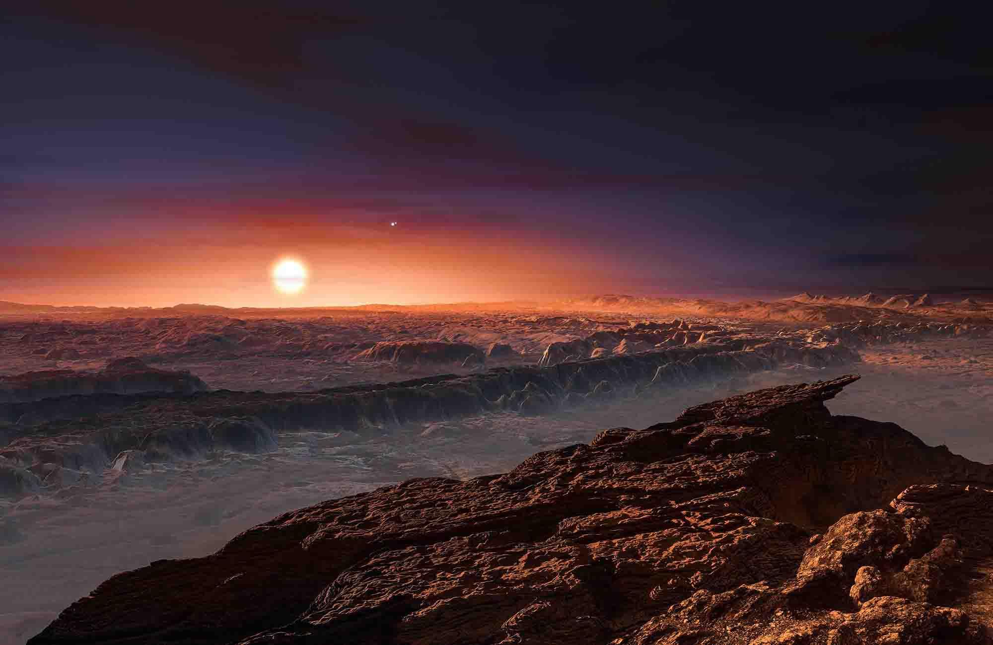 imagen de Concepción artística de la superficie de Próxima b, hallado en torno a la estrella Próxima Centauri. (ESO/M. Kornmesser)
