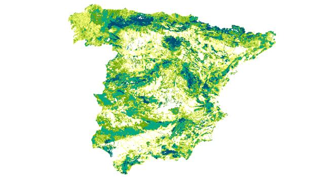imagen de Mapa de valor paisajístico que señala las zonas más valiosas con tonos más oscuros.