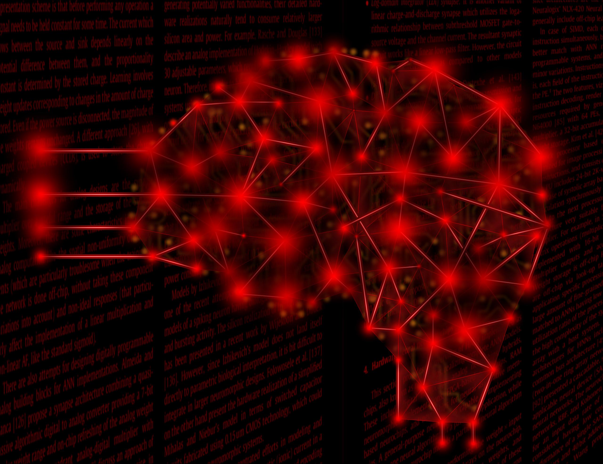 imagen de Visión artística de una implementación fotónica de inteligencia artificial. Una red neuronal de láseres estocásticos acoplados, constituye un sistema que puede ser entrenado para ejecutar tareas de computación. /Cefe López
