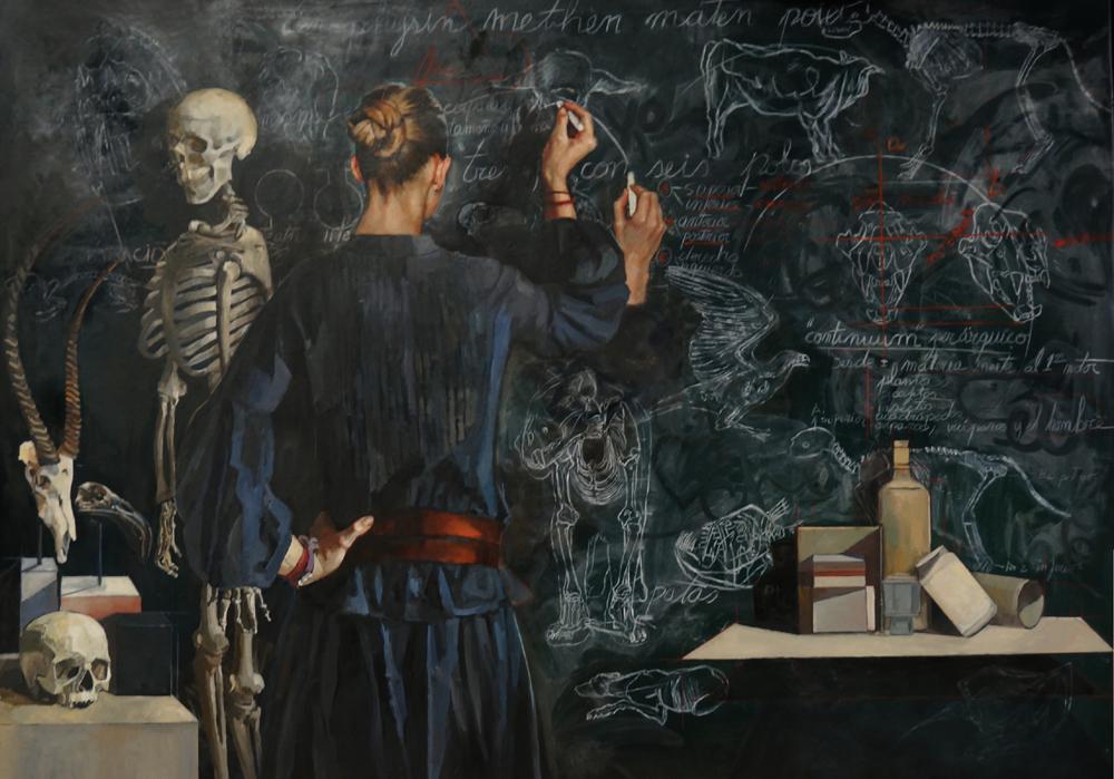 imagen de 'La labor invisible', pintado por Carmen Mansilla, es uno de los diez cuadros realizados 'ex profeso' para esta exposición / MNCN-CSIC