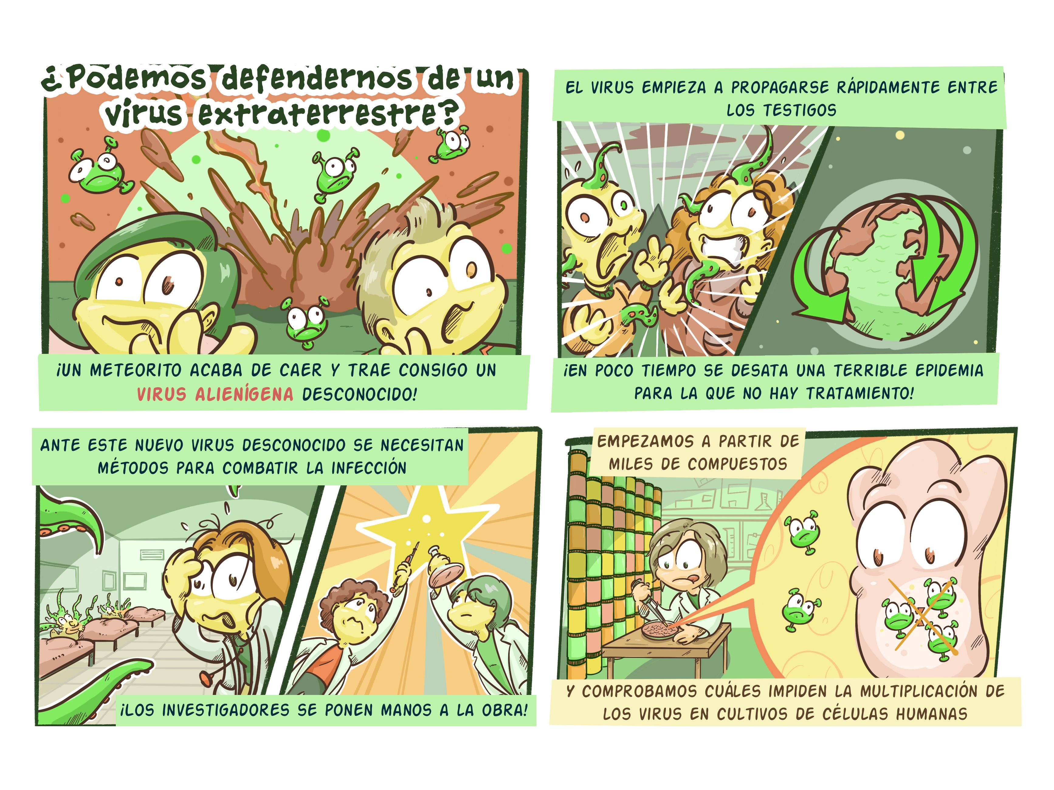 imagen de Fragmento de uno de los cómics del proyecto 'Ciencia y responsabilidad frente a la COVID-19' del CNB-CSIC.
