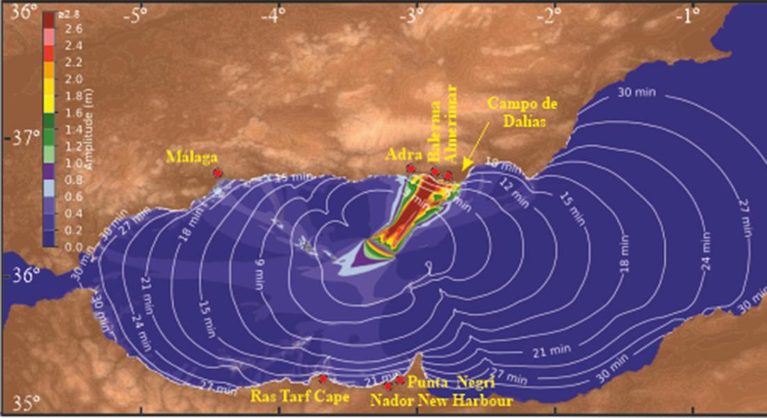 imagen de Modelo de propagación del tsunami y áreas del litoral que se verían afectadas. /ICM
