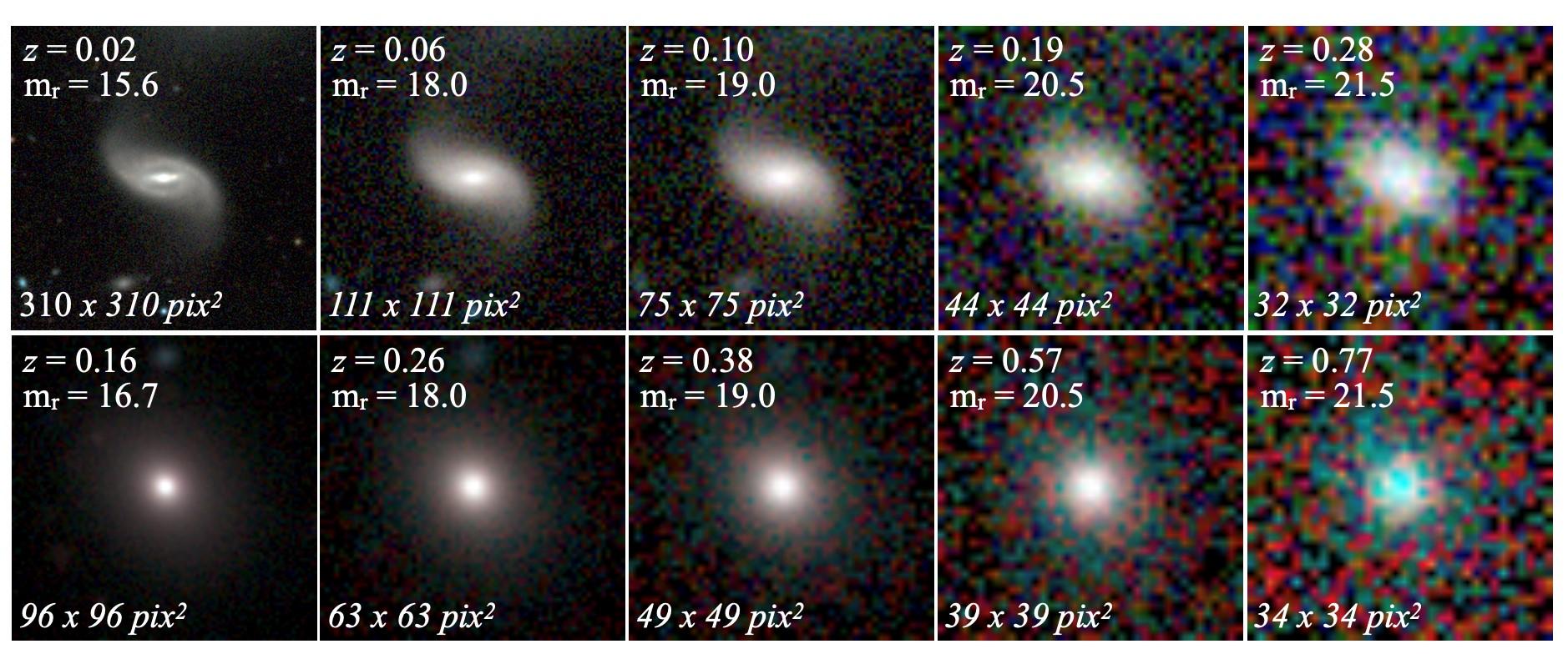 imagen de Imágenes originales (paneles a la izquierda) de una galaxia espiral (arriba) y una galaxia elíptica (abajo) y sus versiones degradadas, utilizadas para entrenar la red neuronal. / J. Vega-Ferrero et al.