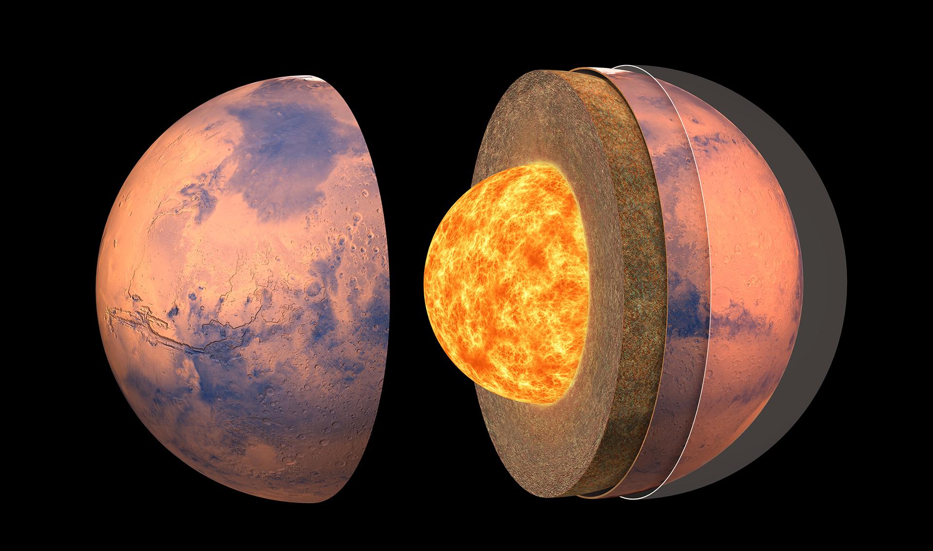 imagen de Ilustración de la estructura interna de Marte. / IPGP.D. Ducros