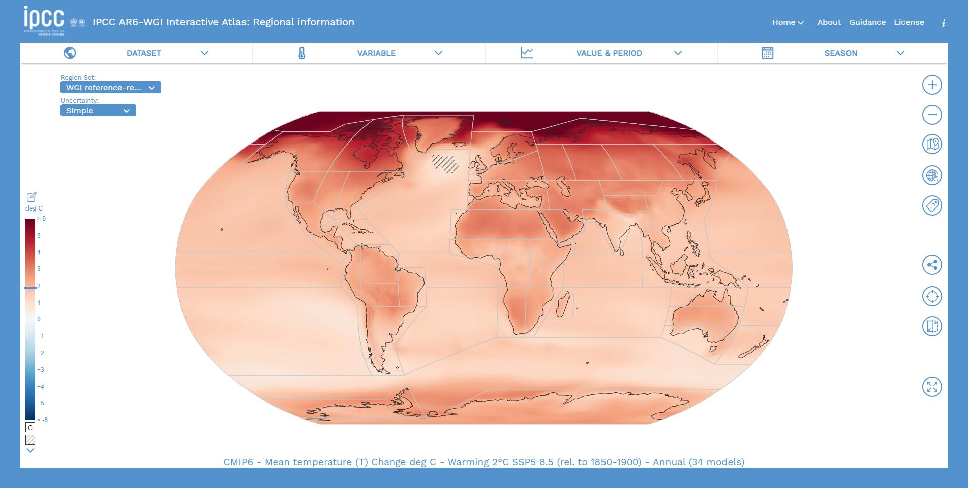 imagen de El Atlas sintetiza todos los cambios climáticos utilizando 46 regiones de tierra y 12 oceánicas. / IPCC