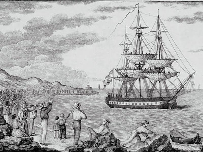 imagen de La corbeta María Pita, fletada para la expedición Balmis, en 1803 (grabado de Francisco Pérez).