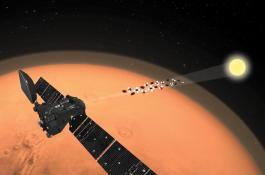 Concepción artística de la misión TGO-ExoMars observando el limbo de la atmósfera de Marte./ ESA.