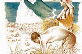 Dibujo artístico que ilustra una escena neolítica genérica / Luís Pascual Repiso